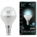 Лампа Gauss LED Globe Crystal Clear 4W E14 4100K